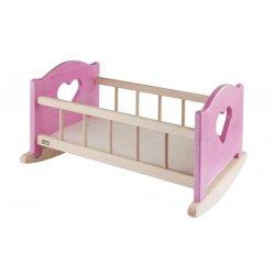 Śliczna duża drewniana kołyska dla lalki - różowe elementy