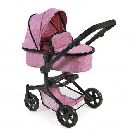 Duży Wózek dla Lalek Kombi MIKA - Kolor Jeans Różowy