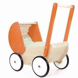 Bajo 74130 - drewniany wózek dla lalki - pomarańczowy
