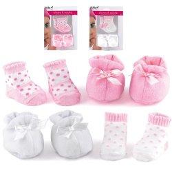 Buty i Skarpetki dla lalek Bobas - Białe / Różowe - Dolls World