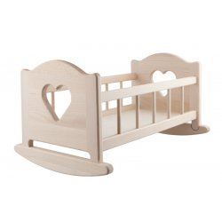 Wooden Cradle for Dolls up to 50 cm - Natural
