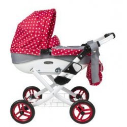 Doll's Pram Red and Grey for dolls up to 45 cm