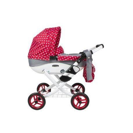 Głęboki wózek dla lalki - Pink and Grey