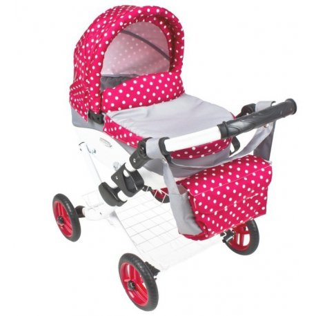 Głęboki wózek dla lalki - czerwony