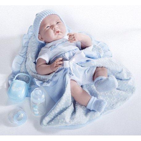 Lalka - Zaspany noworodek w beciku z akcesoriami- Berenguer Boutique