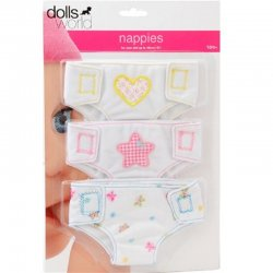 3 fabric nappies for Baby Dolls - Peterkin Dolls World