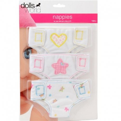 Zestaw 3 materiałowych pieluszek dla lalki - Peterkin, doll's world