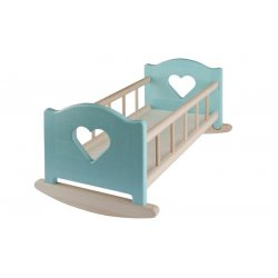 Wooden Cradle for Dolls up to 50 cm - partaily painted in Blue