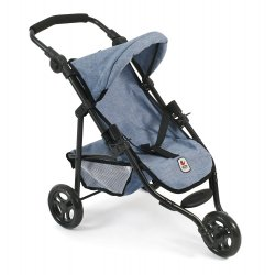 3 Wheeler Doll Stroller - Denim Blue