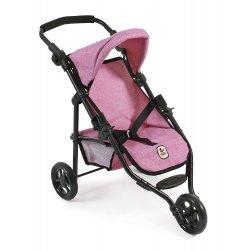 Trójkołowy wózek dla lalek - Spacerówka Denim Pink