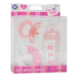 3 Piece Accessory Gift Set includes Bottle, Pacifier & Rattle - Pink