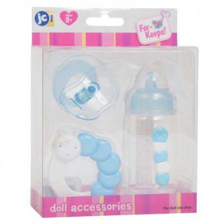 Smoczek, butelka i grzechotka dla lalki w kolorze niebieskim- zestaw akcesoriów JC Toys