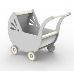 Wózek Drewniany dla Lalek - Popielaty
