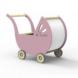 Drewniany Wózek dla Lalek - róż