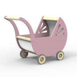 Drewniany wózek dla lalki - kolor jasny róż