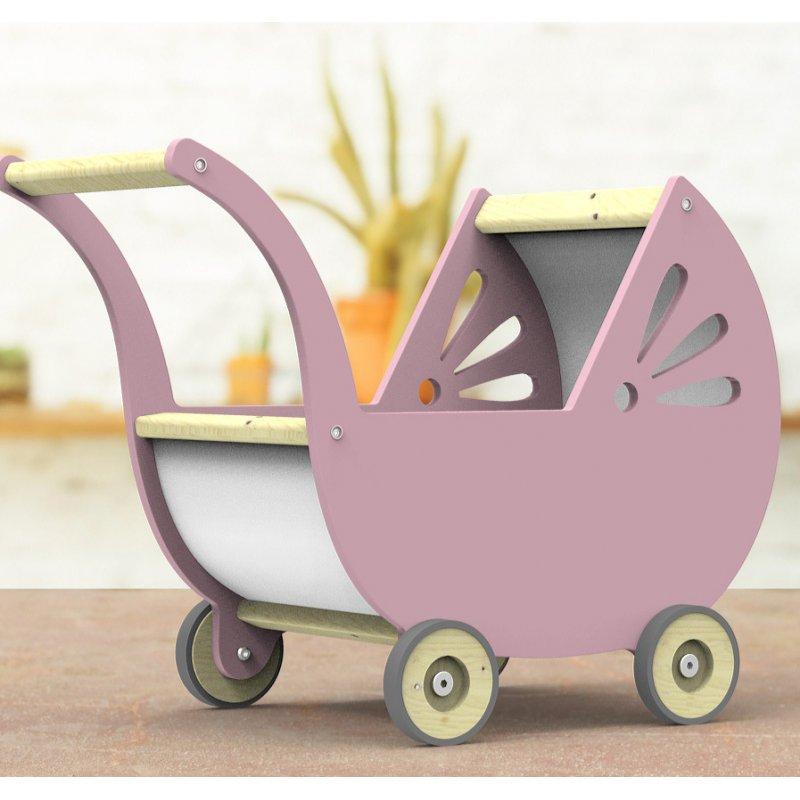 Wózek dla lalek drewniany w kolorze jasnego różu