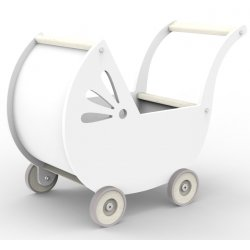 Drewniany wózek dla lalki - biały