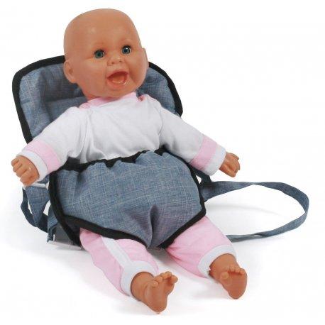 Nosidełko dla lalki na szelkach - Jeans Blue