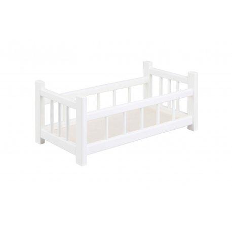Małe łóżeczko dla lalki, drewniane, białe