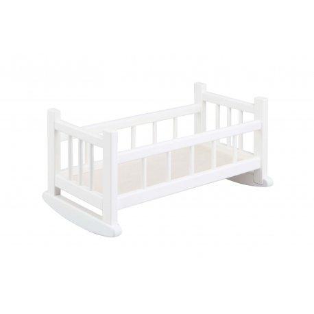 Drewniana kołyska dla lalek do 45 cm - biała