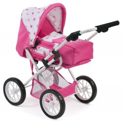 Big pushchair for dolls up to 52 cm. Bayer Chic 595 70 Jeans Pink
