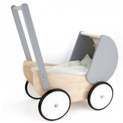 Drewniany wózek dla lalki, szary, BAJO