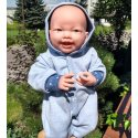 Pajacyk dla lalki bobas - denim z kapturkiem