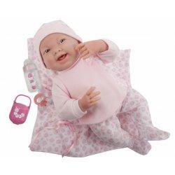 Lalka Bobas w różowej piżamce + kocyk, smoczek i butelka - La Newborn