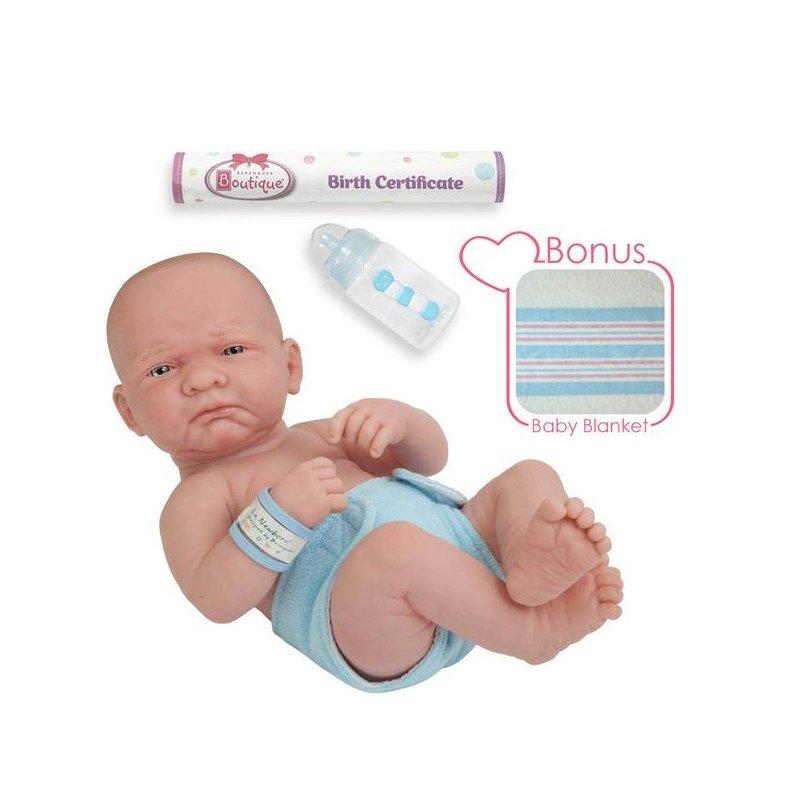 Lalka bobas - noworodek z akcesoriami takimi jak kocyk, butelka, akt urodzenia.