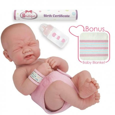 Lalka bobas w różowej pieluszce + bonus pack. Berenguer 18503