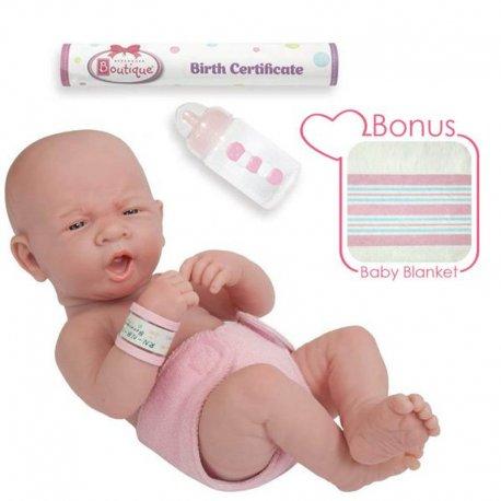 Lalka noworodek - ziewający - z akcesoriami
