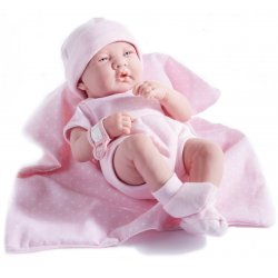 Baby Doll Girl with pink blanket - Gift Set