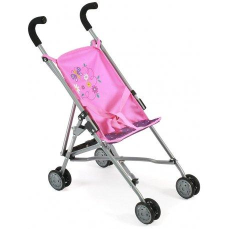 Spacerówka dla Lalek - Różowy wózek z kwiatuszkami