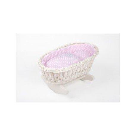 Wiklinowa kołyska dla lalki, różowa pościel