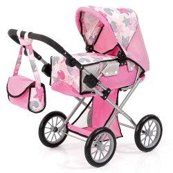 Wózek dla lalek City Star, różowy z gwiazdkami - Bayer Design