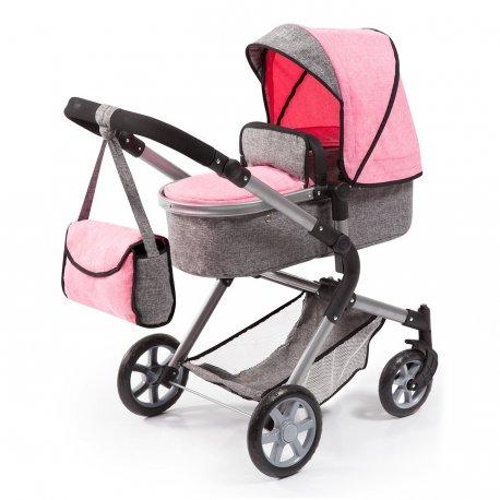 Wózek dla lalki - City Neo - pink and grey denim