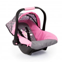 Fotelik samochodowy dla lalki - różowo szary, jak prawdziwy