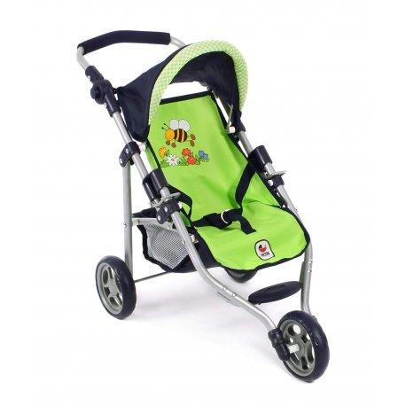 Mały wózek dla lalek - LOLA - Pszczółka (Jasno Zielony)