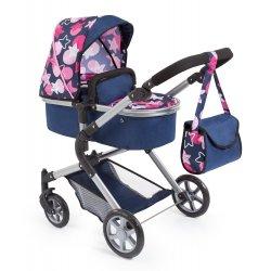 Wózek Gondola dla lalek | Spacerówka - City Neo, Ciemno-niebieski / Różowy