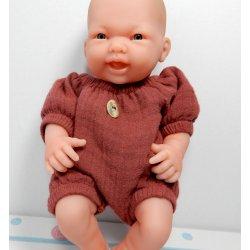 Ubranko dla malutkiej laleczki 23-25cm, kombinezon wiśniowy