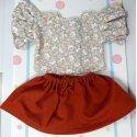 Komplet - bluzka z falbankami, spódnica miedziana
