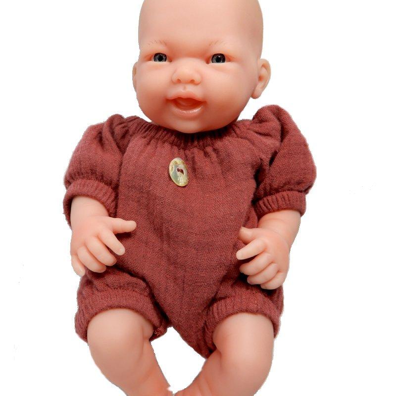 Ubranko dla małej laleczki 23 - 25 cm - wiśniowy kombinezon