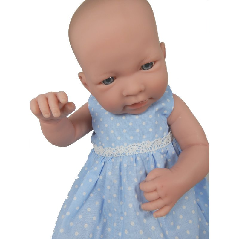 Sukienka dla lalki - niebieska w białe groszki