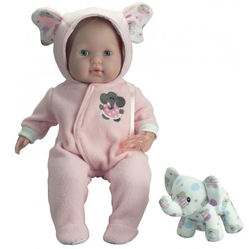 Lalka w różowym ubranku + słonik
