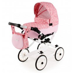Doll's Pram Pink and Grey