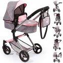 Wózek dla lalek 2w1 - Vario różowo szary