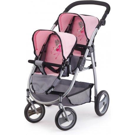 Wózek lalkowy dla bliźniąt - Jogging Rosa
