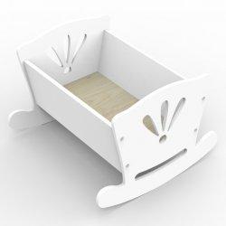 Drewniana kołyska dla lalki, biała