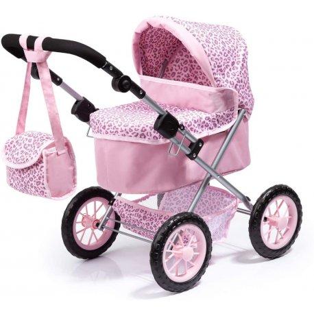 Składany wózek dla lalek, Trendy - głęboki, różowy