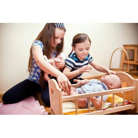 Drewniane łóżeczko dla lalki - duże, dla lalek do 50 cm